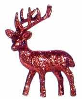 Feest kerst rode rendier vensterbank versiering 10 cm