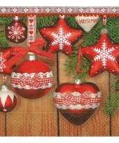 Feest kerst servetten met kerst ornamenten