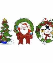 Feest kerst thema raamstickers set van 3x stuks van 30 cm