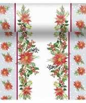 Feest kerst thema tafellopers placemats met kerststerren 40 x 480 cm