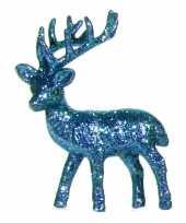 Feest kerst turquoise rendier vensterbank versiering 10 cm