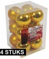 Feest kerstboom decoratie kerstballen goud 24x stuks 6 cm