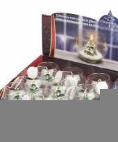 Feest kerstboom kaars in glas 10 x 8 cm