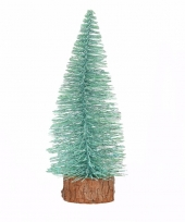 Feest kerstboompje op stam 25 cm mintgroen