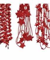 Feest kerstboomversiering 3x rode kralenslingers met sterretjes 270 cm