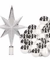 Feest kerstboomversiering set zilver met 36 kerstballen en ster piek