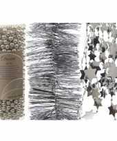 Feest kerstboomversiering slingers set 3x zilveren kerstslingers