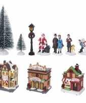 Feest kerstdorp kersthuisjes en accessoires set 17dlg met led