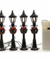 Feest kerstdorp lantaarns 4 stuks