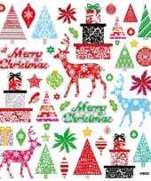 Feest kerstkaarten stickers merry christmas