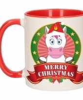 Feest kerstontbijt theebeker rood wit eenhoorn 300 ml
