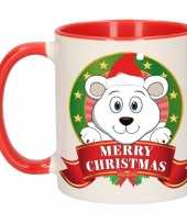 Feest kerstontbijt theebeker rood wit ijsbeer 300 ml
