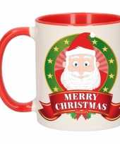 Feest kerstontbijt theebeker rood wit kerstman 300 ml