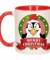 Feest kerstontbijt theebeker rood wit pinguin 300 ml