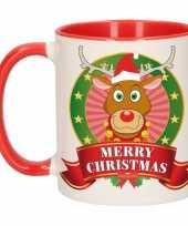 Feest kerstontbijt theebeker rood wit rendier 300 ml