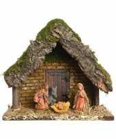 Feest kerststal met 5 kerst figuren 23 cm