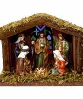 Feest kerststal met verlichting en figuren 22cm