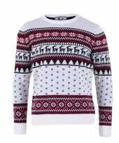 Feest kersttrui voor volwassenen met nordic print wit