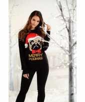 Feest kersttrui zwart met mopshond voor dames heren