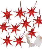 Feest kerstverlichting op batterijen lichtsnoer met rode papieren sterren 250 cm
