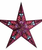 Feest kerstversiering decoratie kerststerren paars 60 cm