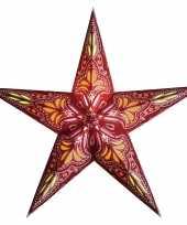 Feest kerstversiering decoratie kerststerren rood oranje 60 cm