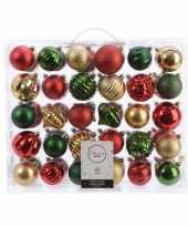 Feest kerstversiering kerstballen set dennen groen goud rood 60 delig
