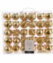 Feest kerstversiering kerstballen set goud 60 delig kunststof