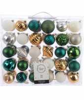 Feest kerstversiering kerstballen set groen goud zilver wit 60 delig