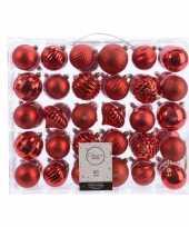 Feest kerstversiering kerstballen set rood 60 delig kunststof