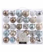 Feest kerstversiering kerstballen set zilver champagne blauw bruin 60x