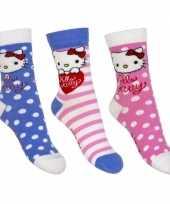 Feest kinder hello kitty thema sokken 3 pak blauw roze