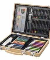 Feest kinder kleurtjes set in houten koffer