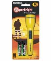 Feest kinder zaklamp superbright geel 15 cm