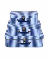 Feest kinderkamer koffertje blauw met witte strepen 25 cm