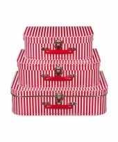Feest kinderkamer koffertje rood met witte strepen 35 cm