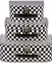 Feest kinderkamer koffertje zwart wit 25 cm