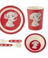 Feest kinderservies olifant bamboe set 5 delig