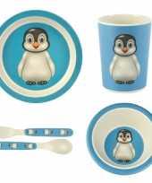 Feest kinderservies pinguin bamboe set 5 delig
