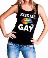 Feest kiss me i am gay tanktop mouwloos shirt zwart voor dames