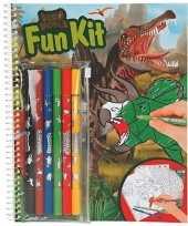 Feest kleurboek dinosaurus met stiften
