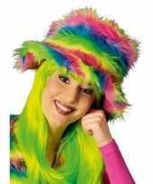 Feest kleurrijke neon pluche hoed