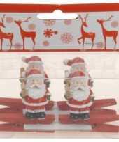 Feest knijper met kerstman met ster 4 stuks