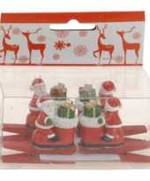 Feest knijper met kerstman op laars 4 stuks