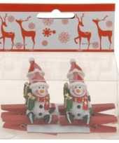 Feest knijper met sneeuwpop 4 stuks