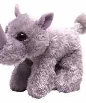 Feest knuffeldiertje neushoorn pluche grijs 18 cm