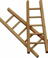 Feest knutsel materiaal houten mini laddertjes 6 stuks