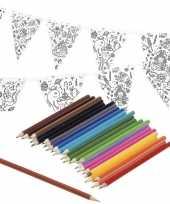 Feest knutsel papieren vlaggenlijn om in te kleuren 3m incl potloden