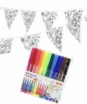 Feest knutsel papieren vlaggenlijn om in te kleuren 3m incl stiften