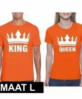 Feest koningsdag koppel king queen t-shirt oranje maat l